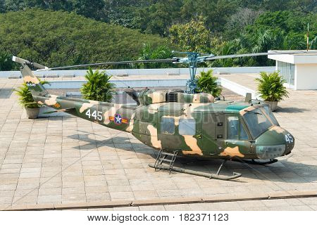 Ho Chi Minh City, Vietnam - Jan 26 2015: Bell Uh-1 Huey At Independence Palace. A Famous Historical