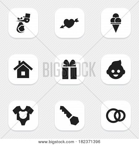 Set Of 9 Editable Kin Icons. Includes Symbols Such As Child, Cold Dessert, Bodysuit And More. Can Be Used For Web, Mobile, UI And Infographic Design.