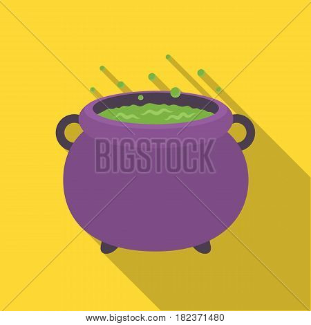 Witch's cauldron icon in flate style isolated on white background. Black and white magic symbol vector illustration.