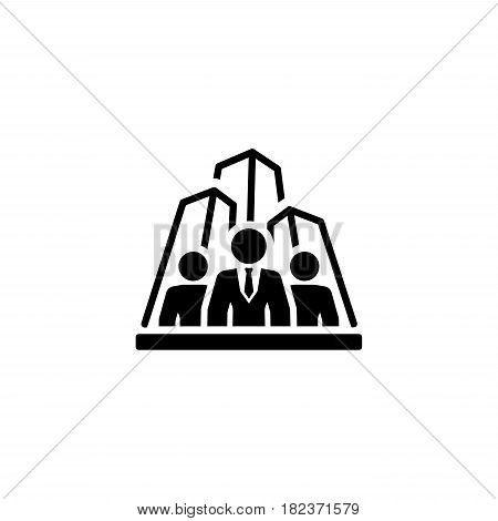 Security Agency Icon. Flat Design Isolated Illustration. App Symbol or UI element. Team of people with skyscrapers in back.