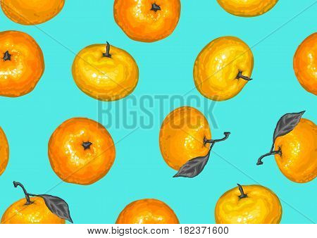 Seamless pattern with mandarins. Tropical fruits and leaves.