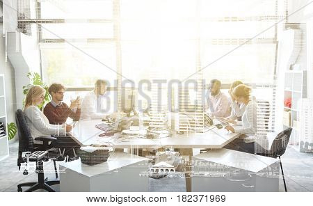 corporate, technology and people concept - business team with smartphones and computers working at office over urban double exposure effect