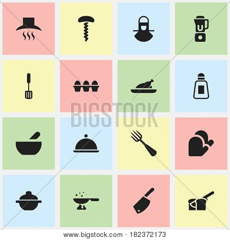 Set Of 16 Editable Cook Icons. Includes Symbols Such As Silverware, Wine Opener, Rocker Blade And More. Can Be Used For Web, Mobile, UI And Infographic Design.