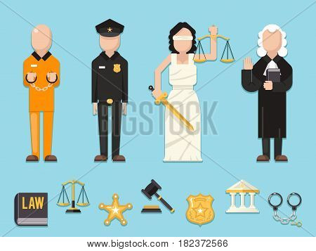 Law justice Themis Femida scales sword police judge prisoner characters icons symbols set flat vector icon illustration