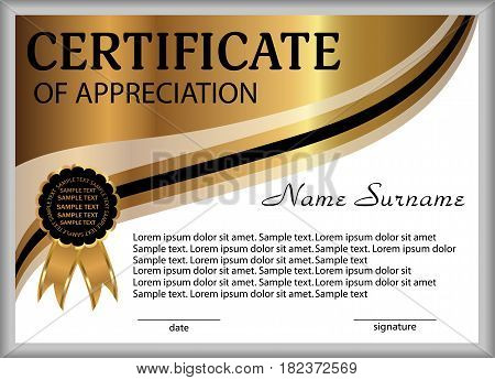 Certificate of appreciation diploma. Reward. Winning the competition. Award winner. Gold decorative elements. Vector illustration.