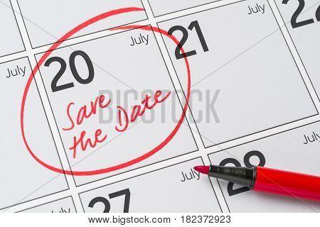Save The Date Written On A Calendar - July 20