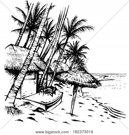 Summer beach sketch with palm trees, hovels and beach umbrella. Hand drawn vector illustration on white background.
