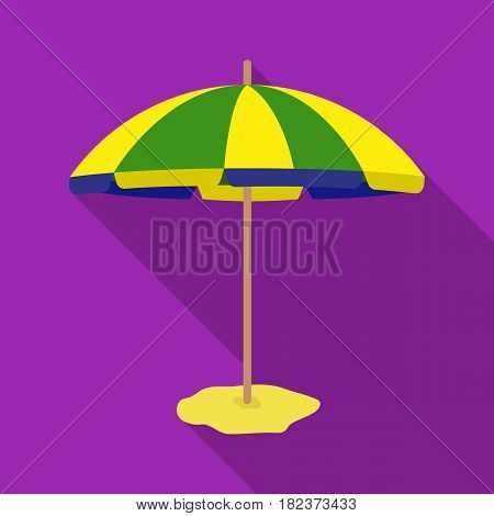 Yelow-green beach umbrella icon in flate design isolated on white background. Brazil country symbol stock vector illustration.