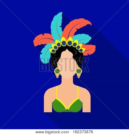 Samba dancer icon in flate design isolated on white background. Brazil country symbol stock vector illustration.