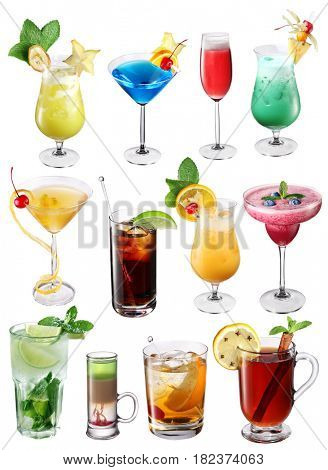 Collection of colorful cocktails. File contains clipping paths for each one.