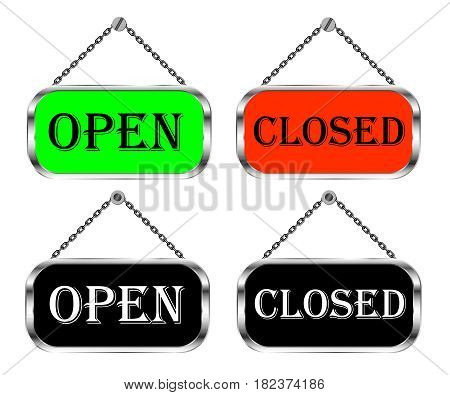 Open and closed sign board vector isolated set