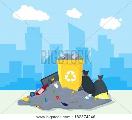 Garbage Dump or Landfill on a Urban Landscape Background Symbol of Pollution Environment. Vector illustration