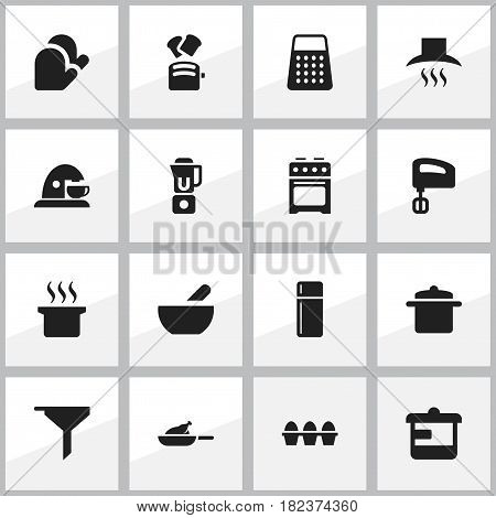Set Of 16 Editable Cook Icons. Includes Symbols Such As Grill, Kitchen Glove, Egg Carton And More. Can Be Used For Web, Mobile, UI And Infographic Design.