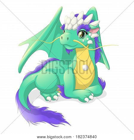 lying cute green dragon with the talisman on his chest