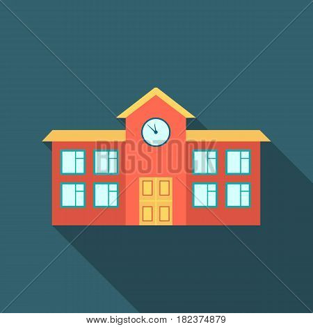 School icon flate. Single building icon from the big city infrastructure flate.