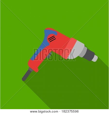 Drill icon in flate style isolated on white background. Build and repair symbol vector illustration.