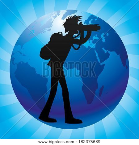 Photographer with a backpack and globe on a blue background.