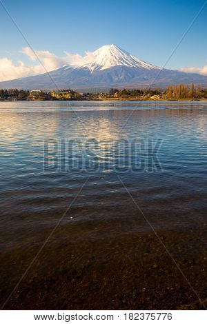 Mt. Fuji In Spring At Kawaguchiko Lake, Mt. Fuji Is Famous Japan Mountain