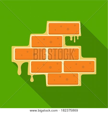 Brick wall icon in flate style isolated on white background. Build and repair symbol vector illustration.