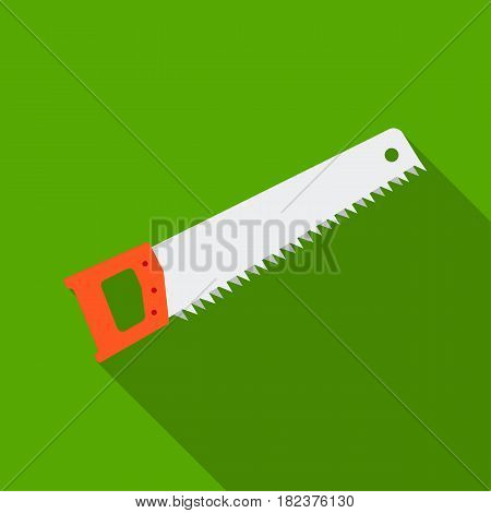 Hand saw icon in flate style isolated on white background. Build and repair symbol vector illustration.
