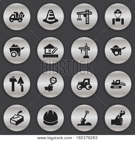 Set Of 16 Editable Construction Icons. Includes Symbols Such As Handcart , Employee , Construction Tools. Can Be Used For Web, Mobile, UI And Infographic Design.