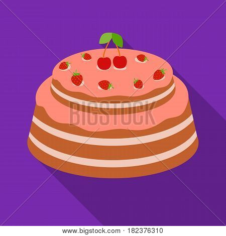 Cake with cherry icon in flate design isolated on white background. Cakes symbol stock vector illustration.