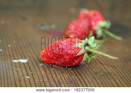Strawberry left on the table in the rain
