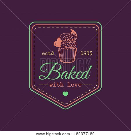 Baked with love vintage cupcake logo. Vector bakery label. Delicious tasteful cookie typographic poster. Hipster pastry icon. Biscuit sign. Desert emblem.