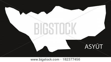 Asyut Egypt Map Black Inverted Silhouette Illustration