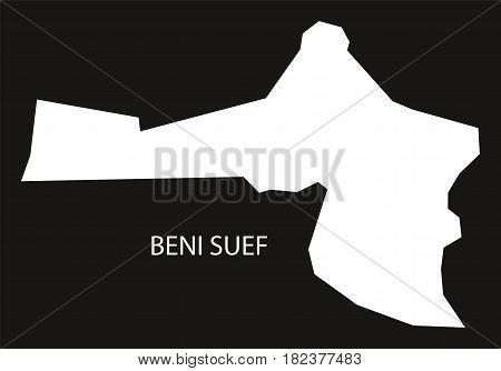 Beni Suef Egypt Map Black Inverted Silhouette Illustration