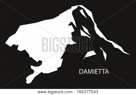 Damietta Egypt Map Black Inverted Silhouette Illustration
