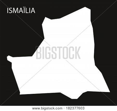 Ismailia Egypt Map Black Inverted Silhouette Illustration