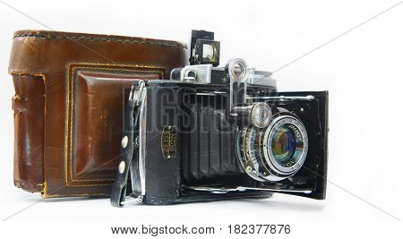 illustrative editorial   RUSSIA, ROSTOV APRIL 5,2017. A front view of the ICON. A 35mm film.The camera of the 1930-1940 release. Germany