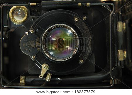 illustrative editorial.  ROSTOV , RUSSIA, APRIL 19, 2017. The old Soviet rangefinder camera. The camera of the 1920-1930 release. Manufacturer of the USSR