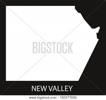 New Valley Egypt Map Black Inverted Silhouette Illustration