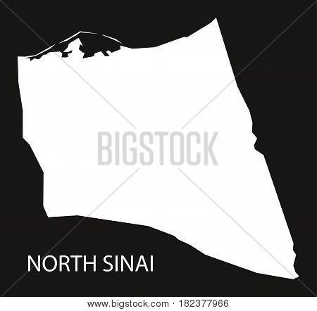 North Sinai Egypt Map Black Inverted Silhouette Illustration