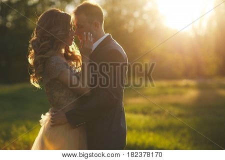 Beautiful young couple in love,bride and groom,the groom-brunette with short hair,dressed in a grey wedding suit and a white shirt,the bride a beautiful blonde with long curly hair,are embracing the rays of the setting summer sun in a green Park