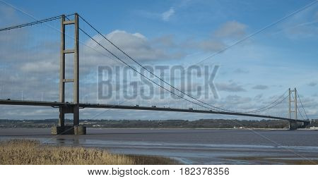 View of the Humber suspension Bridge looking towards the north