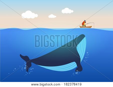 Vector illustration of fisherman and huge whale under water. Creative poster concept