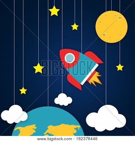 Spacecraft Vector illustration Space with planets, stars, clouds and flying rocket in paper art cartoon style Trendy cute design