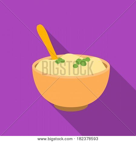 Mashed potatoes icon in flate style isolated on white background. Canadian Thanksgiving Day symbol vector illustration.