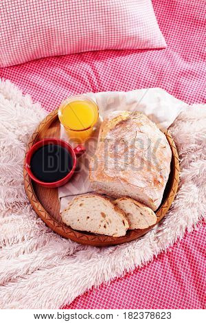 homemade bread in bed - perfect breakfast
