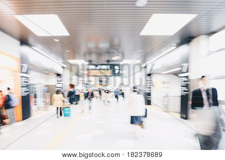 Blurred Business People Rushing For Travel In Train Station Trip Travel Concept