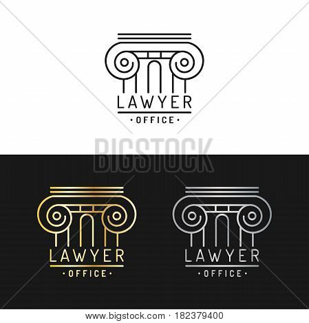 Law office logotypes set. Vector vintage attorney, advocate labels, juridical firm badges collection. Act, principle, legal icons design.