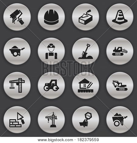 Set Of 16 Editable Structure Icons. Includes Symbols Such As Endurance ,  Lifting Equipment, Handcart. Can Be Used For Web, Mobile, UI And Infographic Design.