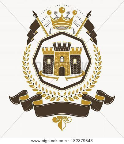 Heraldic coat of arms decorative emblem composed using medieval castle and royal crown
