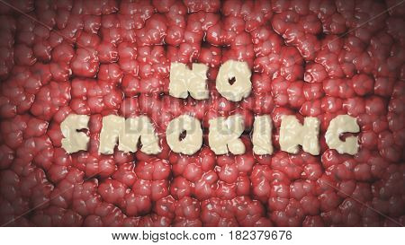 The Inscription No Smoking On The Background Of The Texture Of The Brain. Motivational Concept