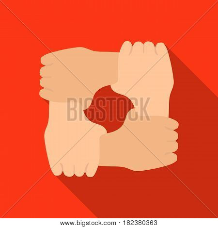 Ring of hands icon in flate design isolated on white background. Charity and donation symbol stock vector illustration.