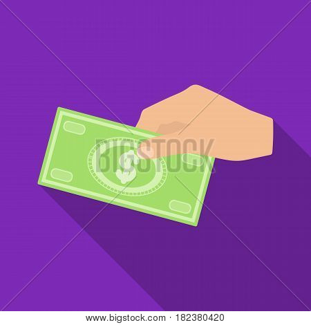 Hands giving money icon in flate design isolated on white background. Charity and donation symbol stock vector illustration.