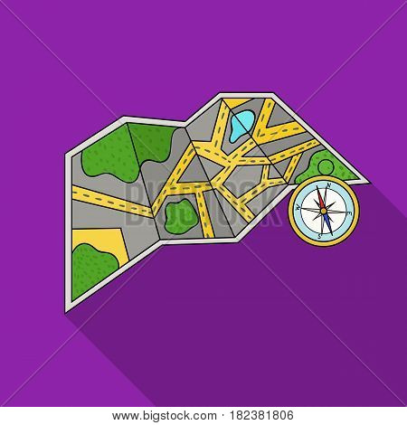 Travel map and compass icon in flat design isolated on white background. Family holiday symbol stock vector illustration.